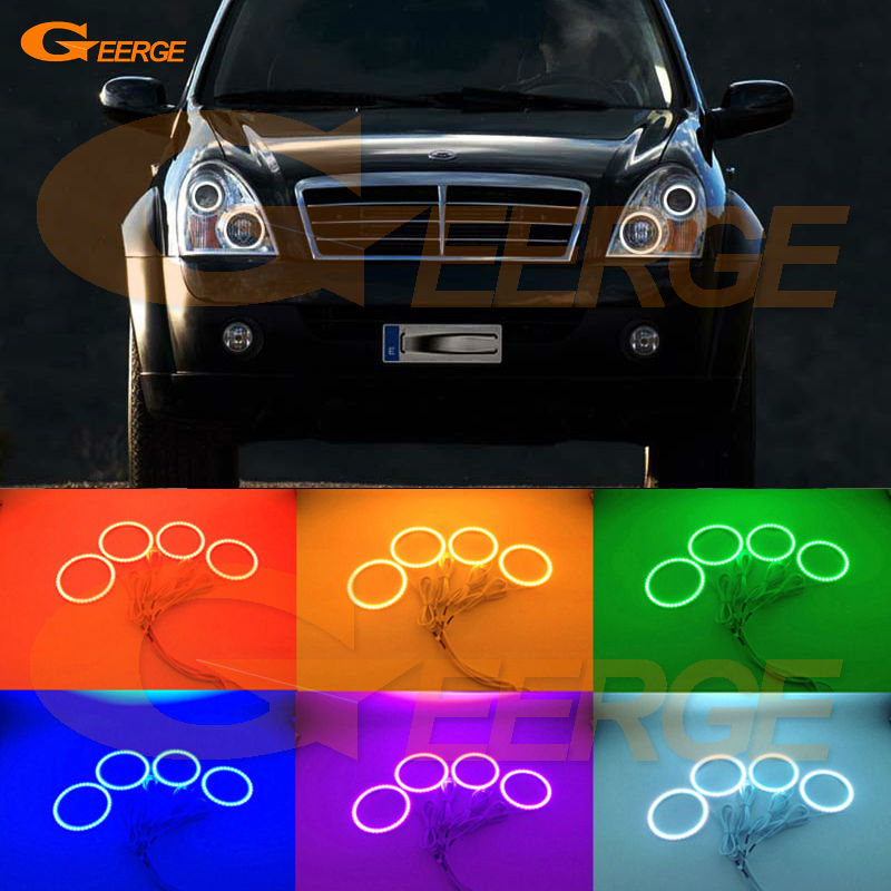 For Ssangyong Rexton 2006 2007 2008 2009 2010 2011 2012 Excellent Multi-Color Ultra bright RGB led Angel Eyes kit Halo Rings for lifan 620 solano 2008 2009 2010 2012 2013 2014 excellent angel eyes multi color ultra bright rgb led angel eyes kit