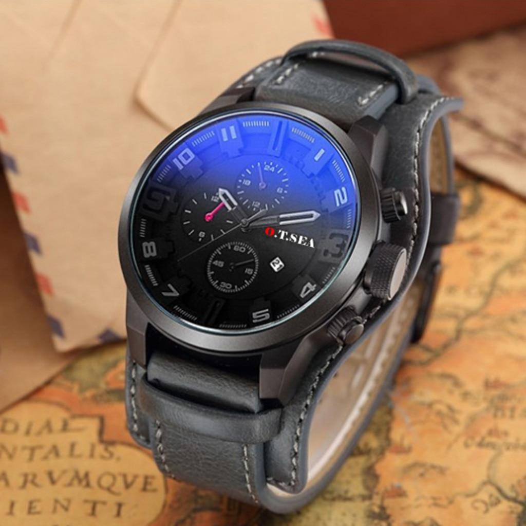Men's Watch Fashion Three Eyes Calendar Leather Strap Quartz Watch Man Reloj Hombre 2019 Men Wristwatch Clock relogio masculino
