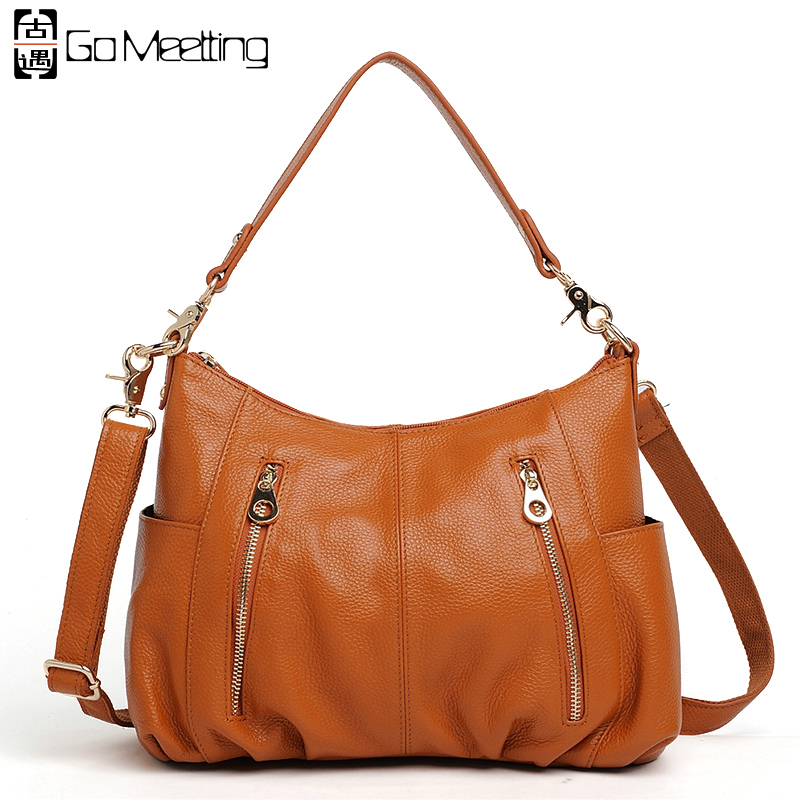 Go Meetting Brand Genuine Leather Women Shoulder Bag High Quality Cow Leather Women Crossbody Bag Fashion Messenger Bags handbag