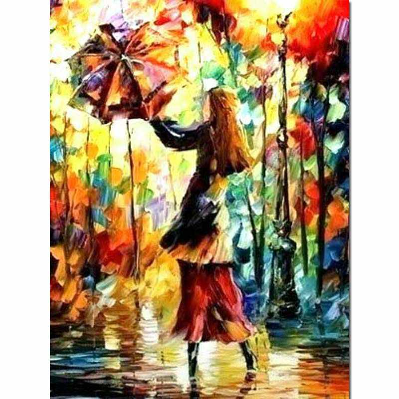 Oil Style Diamond Painting Girl Full Square 5d Diy Diamant Paint Dance Dimond Embroidery Umbrella Needlework Home Decor Gift Y91