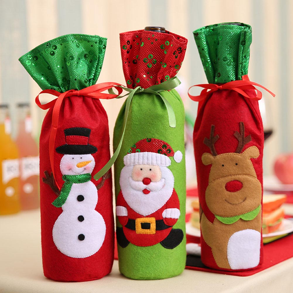 1PC Christmas Decorations for Home Santa Claus Wine Bottle Cover Bag Santa Sack Decoration