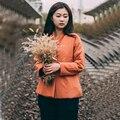 Женщины Осень Зима Новый Литературный Хлопок Белье Ватник Сплошной Цвет Одной Кнопки 2016 Дамы Пальто И Пиджаки Парки
