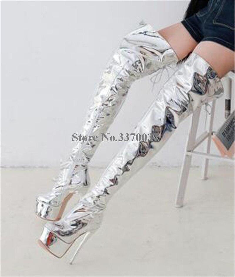 Dames Sexy bout rond argent brevet miroir en cuir sur le genou haute plate-forme talon mince bottes talon mince cuisse longue bottes à talons hauts - 2