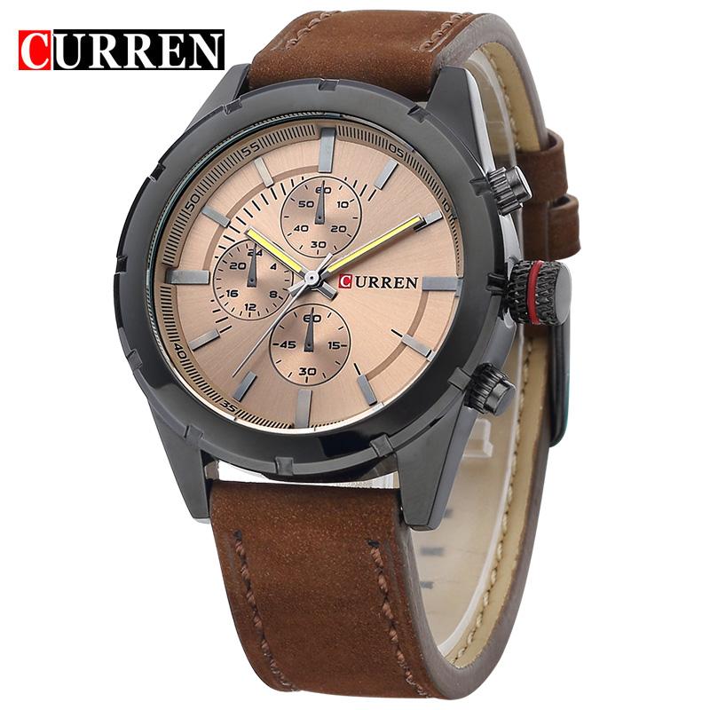 Prix pour CURREN Hommes montre de marque design de mode casual en cuir sport homme poignet quartz mâle montre de luxe 8154
