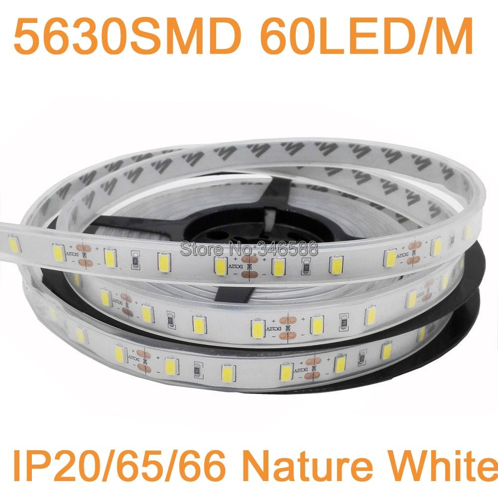 5M 12V 5630 LED Strip Light Neutral White Nature White 60LED/M IP20 Non-waterproof IP65 IP67 Waterproof Flexible LED Tape DC12V
