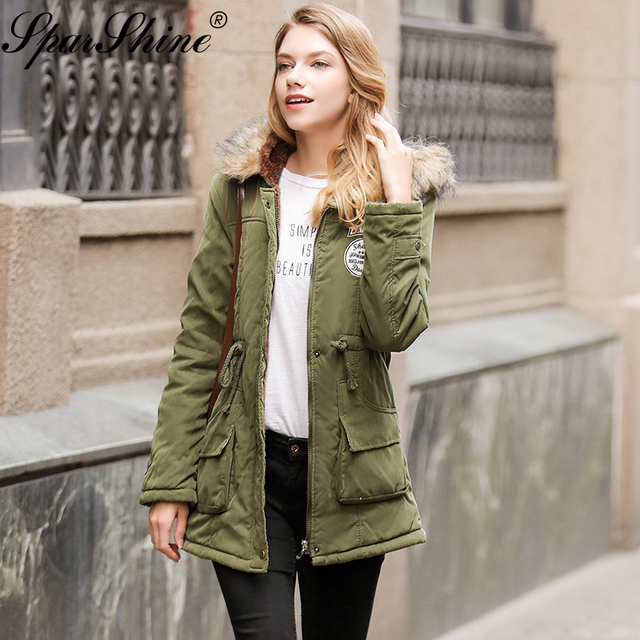 7d279121823d 2018 New Autumn Winter Jacket Women Army Green Hooded Cotton Padded Jackets  Slim Women Winter Warm Jackets Coat Pockets Women