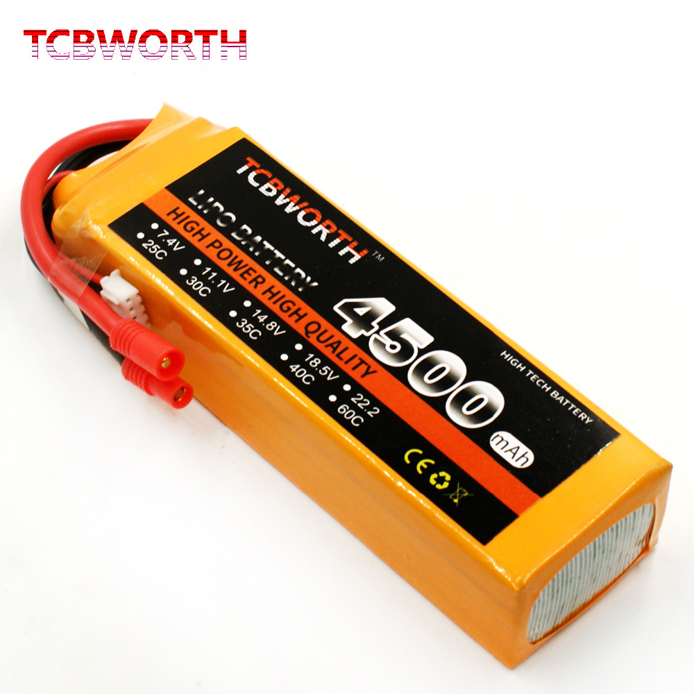 TCBWORTH RC Drone LiPo battery 14.8V 4500mAh 60C 4S For RC Airplane Quadrotor Helicopter AKKU Car Truck Li-ion battery tcbworth 4s rc lipo battery 14 8v 4500mah 25c for rc airplane helicopter akku car drone truck li ion battery