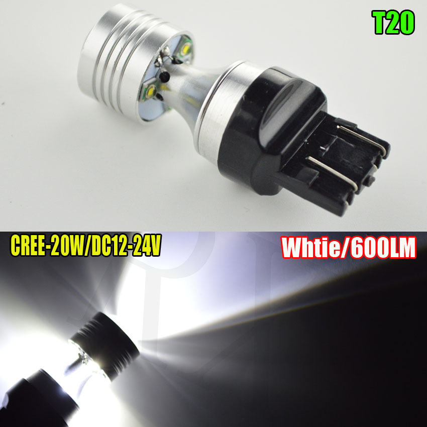 2pcs T20 12V/24V Car Recerse Stop Lamp Turning light Backup LED Lamps 7440/7443 20W CREE XPE Auto Brake Lights Car Bulb 750LM