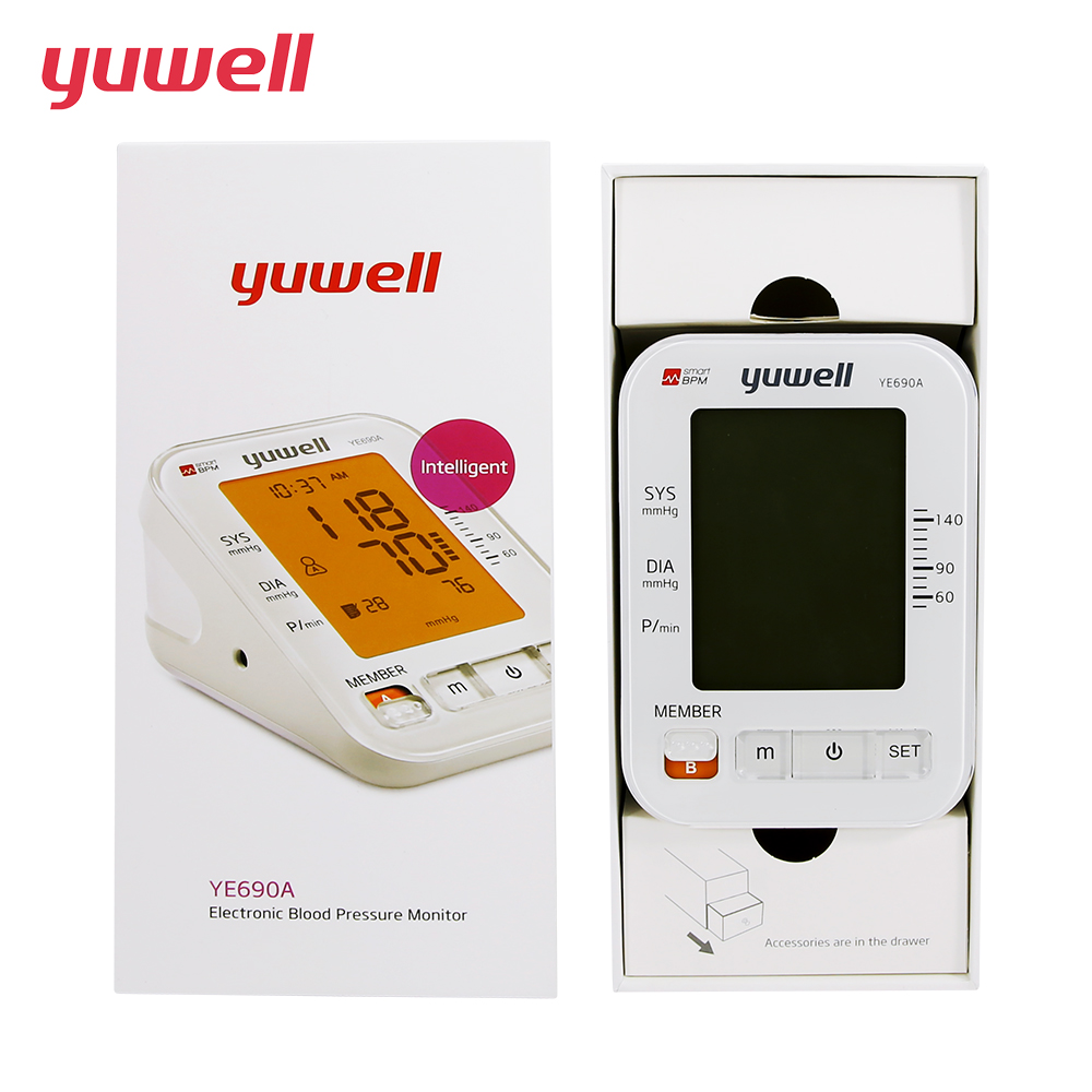 YUWELL Upper Arm blood pressure Pulse monitor Digital backlight screen Portable Home Health Care Double use 5 year warranty 690A homeleader 7 in 1 multi use pressure cooker stainless instant pressure led pot digital electric multicooker slow rice soup fogao