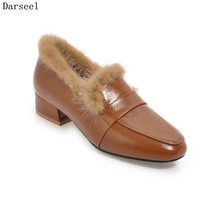 Darseel Women Patent Leather Pumps Black White Beige Autumn Winter Real Mink Fur Square Heel Low