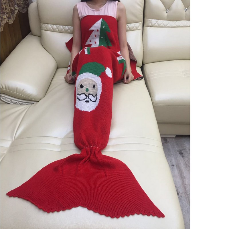 Santa Claus Mermaid Tail Blanket Handmade Crochet Mermaid Blanket Adults Throw Bed Wrap Super Soft Sleeping Bed Christmas Style thicken soft knitted sleeping bag kids wrap mermaid blanket