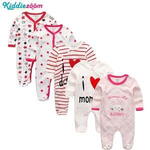 Image 2 - Conjunto de mamelucos Unisex de algodón supersuave para bebé, ropa de manga larga para recién nacido, infantil, 3/4/5 unidades