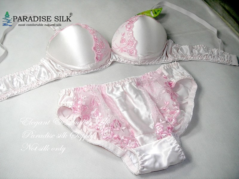 Special Offer 34A   Bra     Set   100% Natural Silk Lace Sexy Wire Padded   Bra     Set
