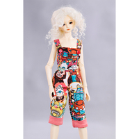 BDCOLE Design Mouth Monkey Monster Pattern Bib Pants Rompers Braces For 45cm 1 4 Doll And