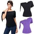 Plus Size Casual Woman Fashion T Shirt  Short Sleeves Sexy Female Shirt Kate Kasin Black Purple Cotton Tee Woman Tops