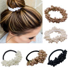 Europe style Pearl Bezel Hair band For Women  Elastic Rubber Band Rope Hair Tie Ponytail Holder Girl Hair Accessories