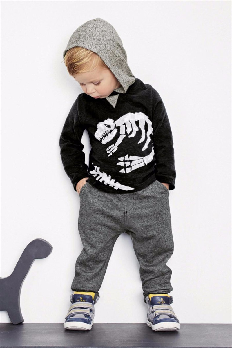 For Boys Hooded Sweater T-shirts Tops Clothing Autumn Winter New Dinosaur Fossil Printing Next Brand Full Sleeve Kids Clothes 04