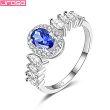 JROSE 2019 Big Cubic Zirconia Ring Fashion Wedding Jewelry Female Engagement Ring For Women Crystal Silver Bands Party New Gift beiver big round cubic zirconia rings fashion wedding jewelry female engagement ring for women crystal silver color party gifts