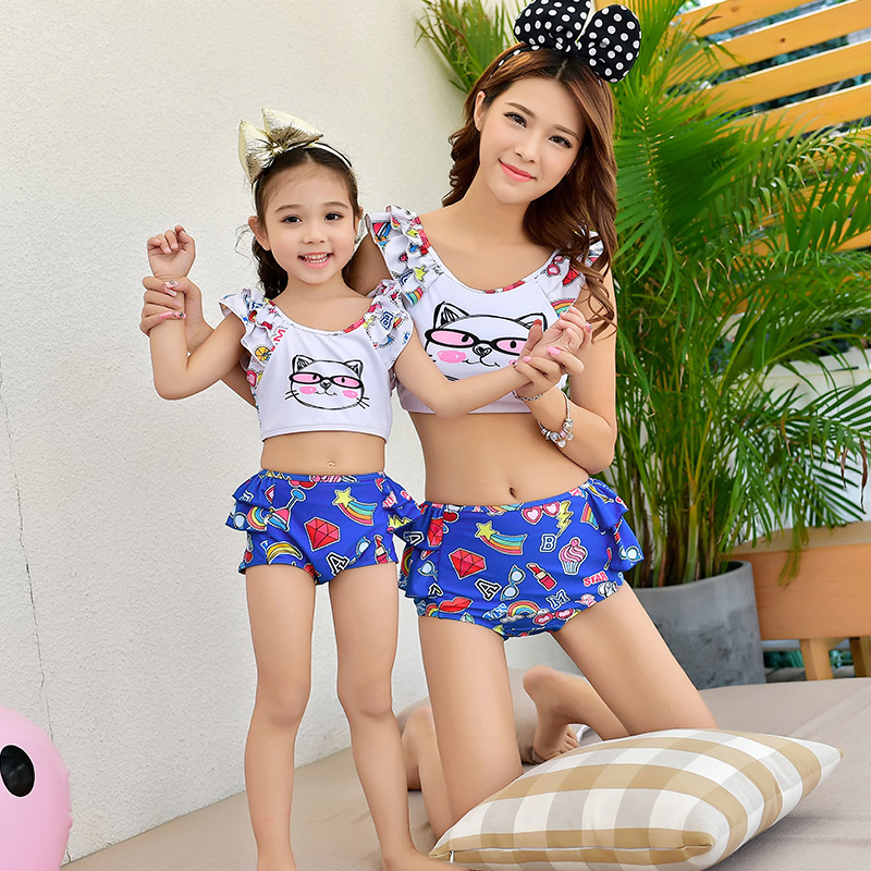 Cartoon Swimwear Mother Daughter Swimsuits Family Look Mommy and Me Matching Outfits Mom Mama Daughter Swimming Dresses Clothes in Matching Family Outfits from Mother Kids
