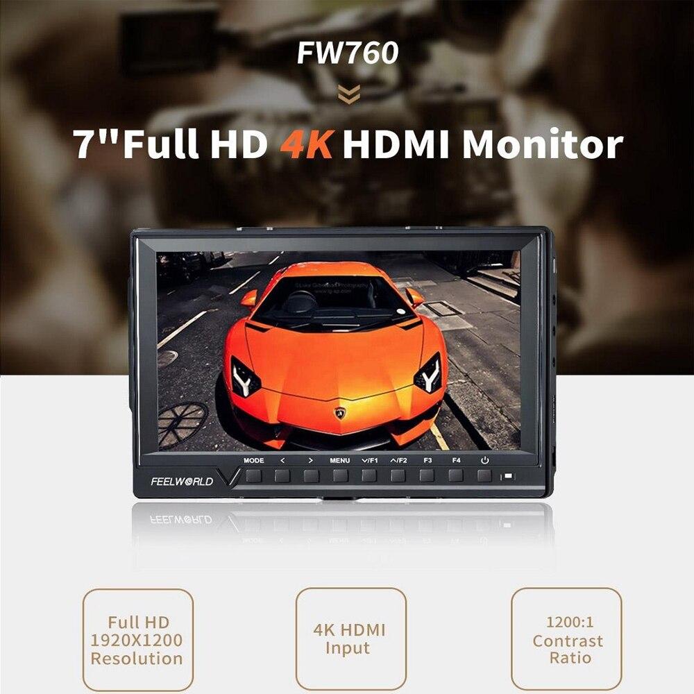 Support Up 4K Feelworld FW760 7 Inch IPS Full HD 1920x1200 On Camera Field Monitor Peaking Focus Assist Histogram Zebra Exposure