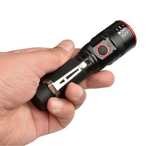 Image 2 - Novo usb recarregável lanterna t6 led flash luz zoomable 3 modos tocha para 18650 com cabo usb acampamento pesca correndo