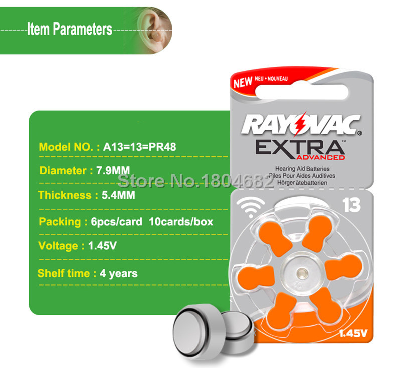 30 Teile/los Rayovac Extra Zink Air Performance Hörgerätebatterien A13 13a 13 P13 Pr48 Hörgerätebatterie A13 Freie Verschiffen FüR Schnellen Versand