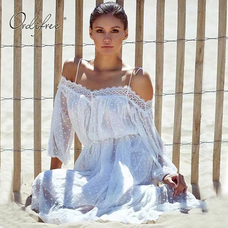 Ordifree Robe Blanc Dentelle Long Beach Robe Spagetti Strap Crochet Polka Dot Broderie Sexy Boho Maxi Robe 2018 Robe D'été