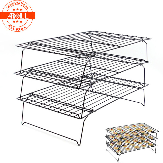 3 Tier Cooling Rack Net Metal NonStick Foldable Wire Cookie Baking ...