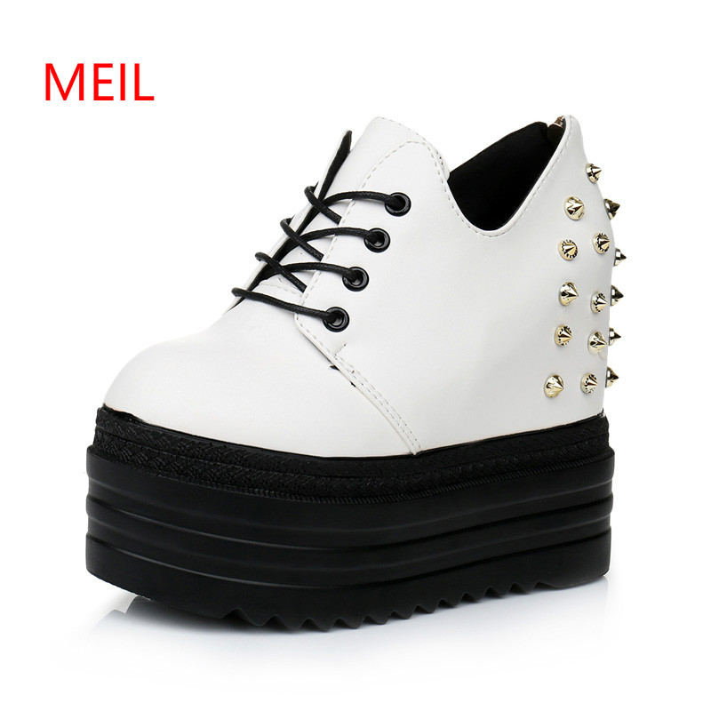 Women Casual Shoes 13cm Hided Wedge Sneaker Shoes Woman Rivet Platform Sneakers Womens Sneakers White Thick Bottom Shoes Female beffery summer shoes women genuine leather fashion casual white woman shoes platform thick bottom shoes woman sneakers
