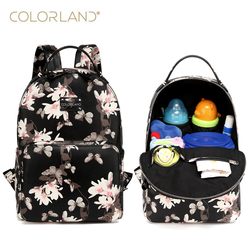 Colorland PU Leather fashion baby Care Nursing mummy maternity nappy diaper bag organizer brand mom backpack