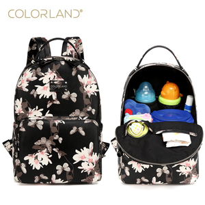 Colorland PU Leather baby Nappy Diaper Bag backpack + Changing Pad + Wet Bag(China)