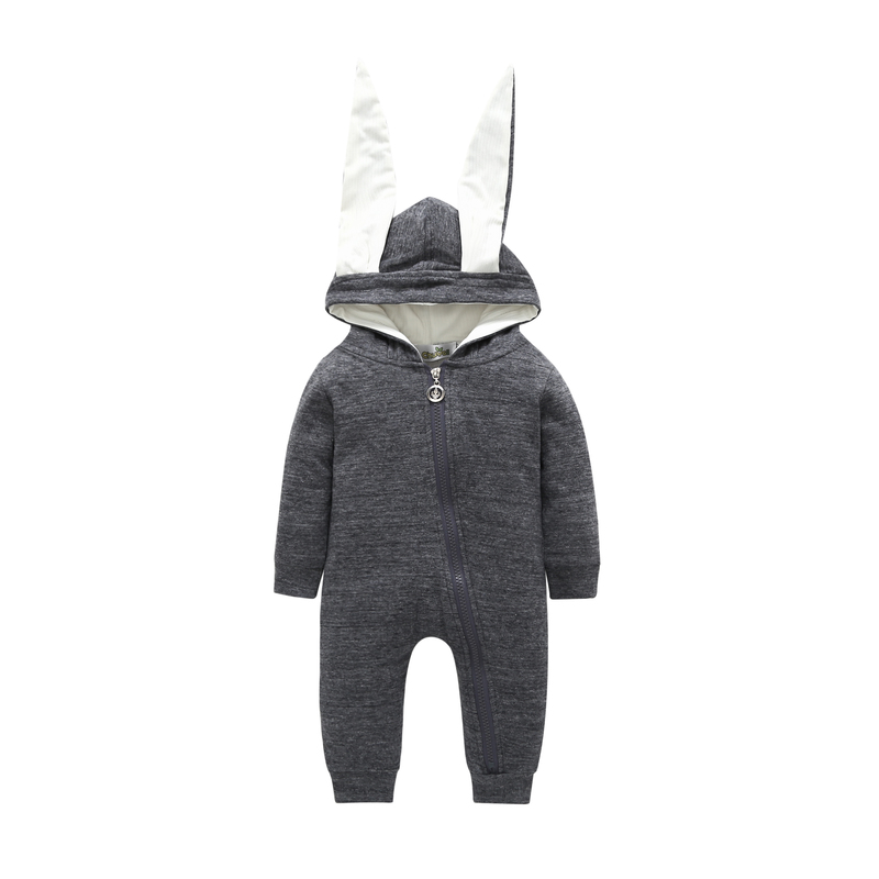 baby boy girl clothes 2019 spring and autumn new small boys and girls clothes cute gray long ears rabbit Siamese   romper