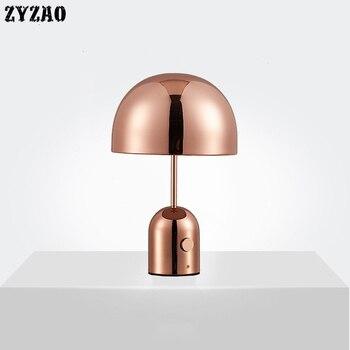 Post-modern Creative Electroplating Table Lamps Simple Living Room Home Decor Led Desk Lamp Study Bedroom Bedside Mushroom Lamps