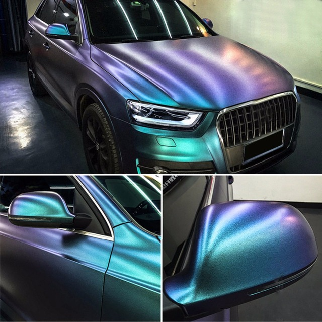 Glossy DIY Car Body Film Chameleon Pearl Glitter Vinyl Sticker Purple Blue Chameleon Automobiles Car Wrap Vinyl Film