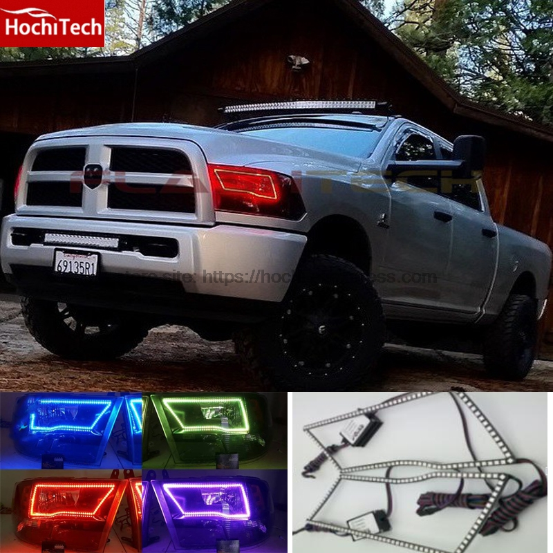 HochiTech RGB Multi-Color LED Angel Eyes Halo Rings kit super brightness car styling for  2009-2014 Dodge RAM Truck w/ Remote hochitech rgb multi color halo rings kit car styling for bmw 3 series e90 05 08 halogen headlight angel eyes wifi remote control