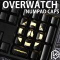 17 unids Iluminado Overwatch Number Keycaps para Teclado Para Juegos Mecánicos
