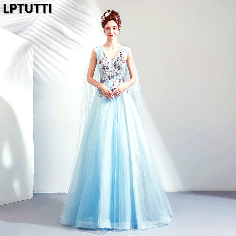LPTUTTI Beading Embroidery Plus Size New For Women Elegant Date Ceremony Party Prom Gown Formal Gala Luxury Long   Evening     Dresses