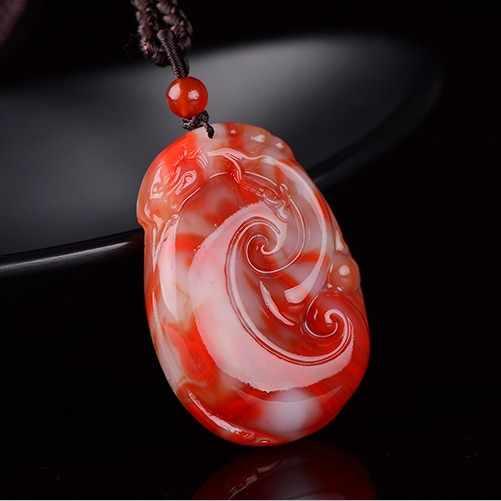 Bán Đồ Trang Sức>>> New Bloodstone Mơ Mặt Dây Chuyền Mở Máu Gà Glowing Bloodstone Mơ Nam Giới và Phụ Nữ Jades Pendant Chuỗi