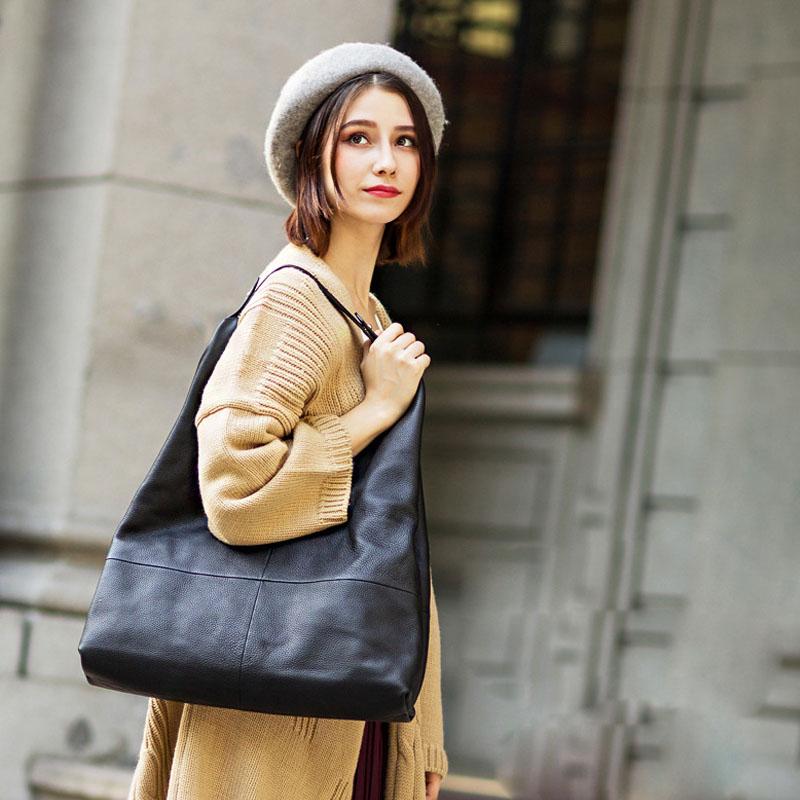 Women Genuine Leather Shoulder Bag Large Capacity Hobos Design Lady Cowhide Leather Crossbody Tote Bag