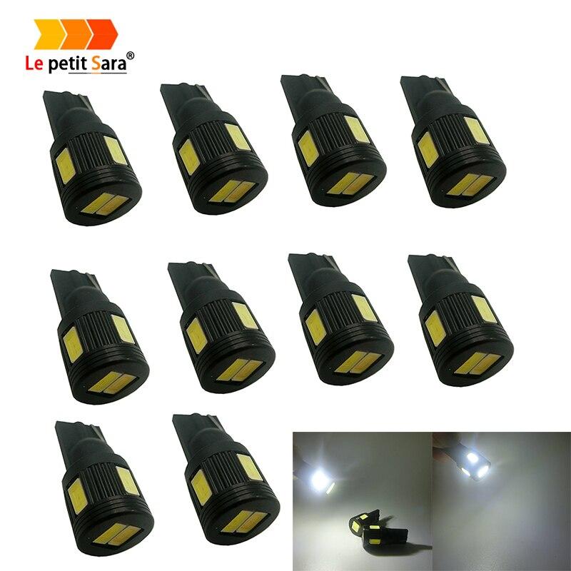 Автомобиль светодиодный 10 шт. T10 светодиодный W5W 6 SMD 5630 COB чип двери автомобиля свет Габаритные огни Оптовая автомобиля боковой свет лампы ав...