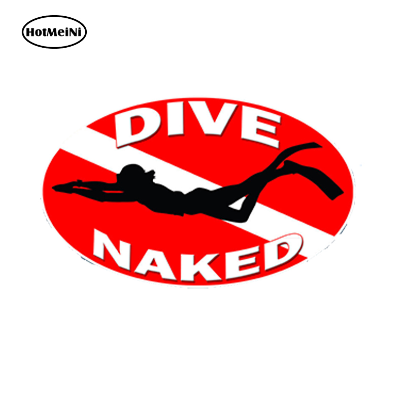 Hotmeini 13x7 8cm car styling scuba dive naked car sticker flag diver down graphic cup laptop waterproof windows accessories in car stickers from