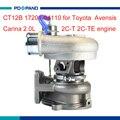 Турбокомпрессор CT12B для Toyota Avensis T22 Carina T19 2C-T 2C-TE  дизельный двигатель 17201-64110
