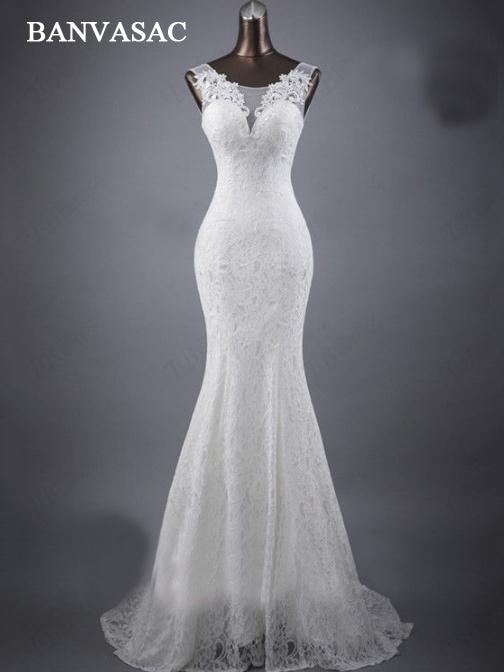 BANVASAC 2017 New Mermaid Elegant Flowers O Neck Wedding Dresses Sleeveless Satin Tank Embroidery Lace Bridal Gowns