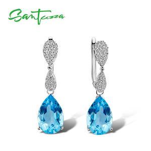 Image 2 - Santuzza Sieraden Set Voor Vrouwen Magic Sky Blue Crystal Cz Stenen Drop Earring Hanger Set 925 Sterling Zilveren Sieraden