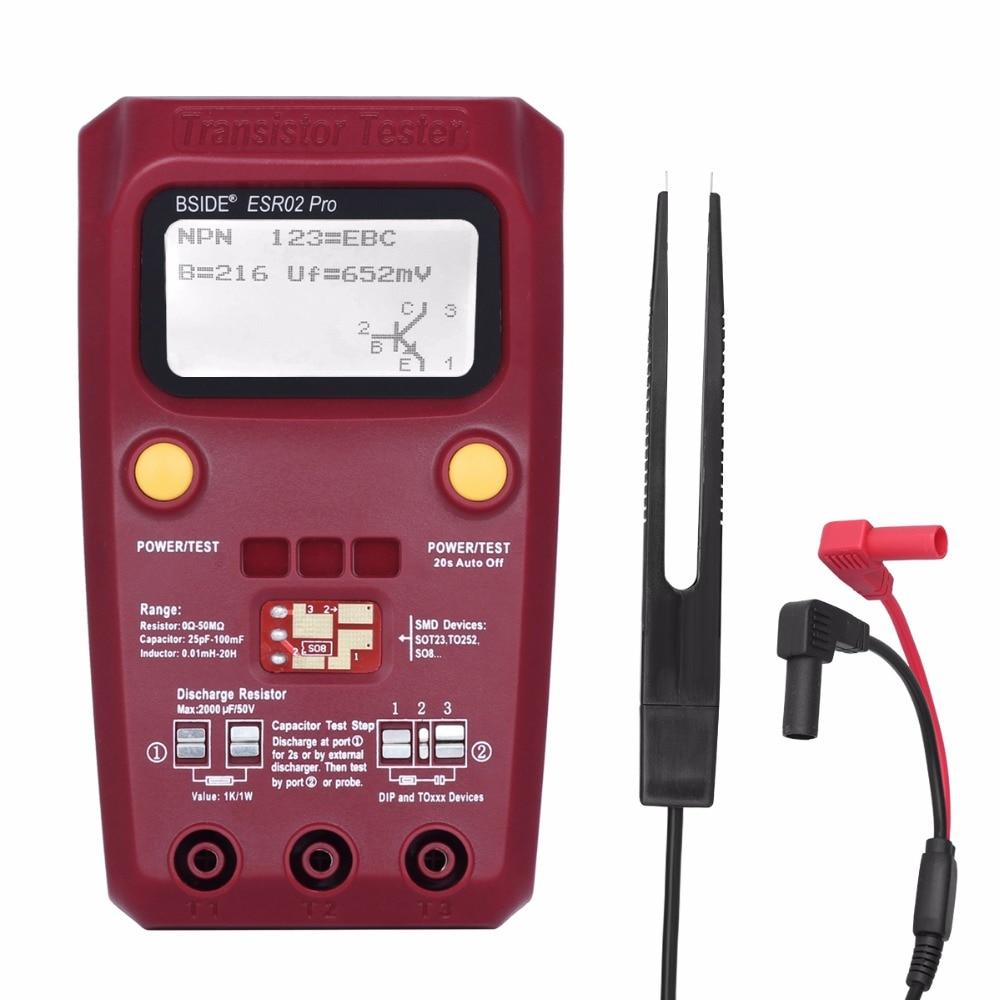 BSIDE ESR02 pro Multi-but Transistor Testeur de Diodes Triode Capacité Résistance Mètre MOS/PNP/NPN SMD Testeur
