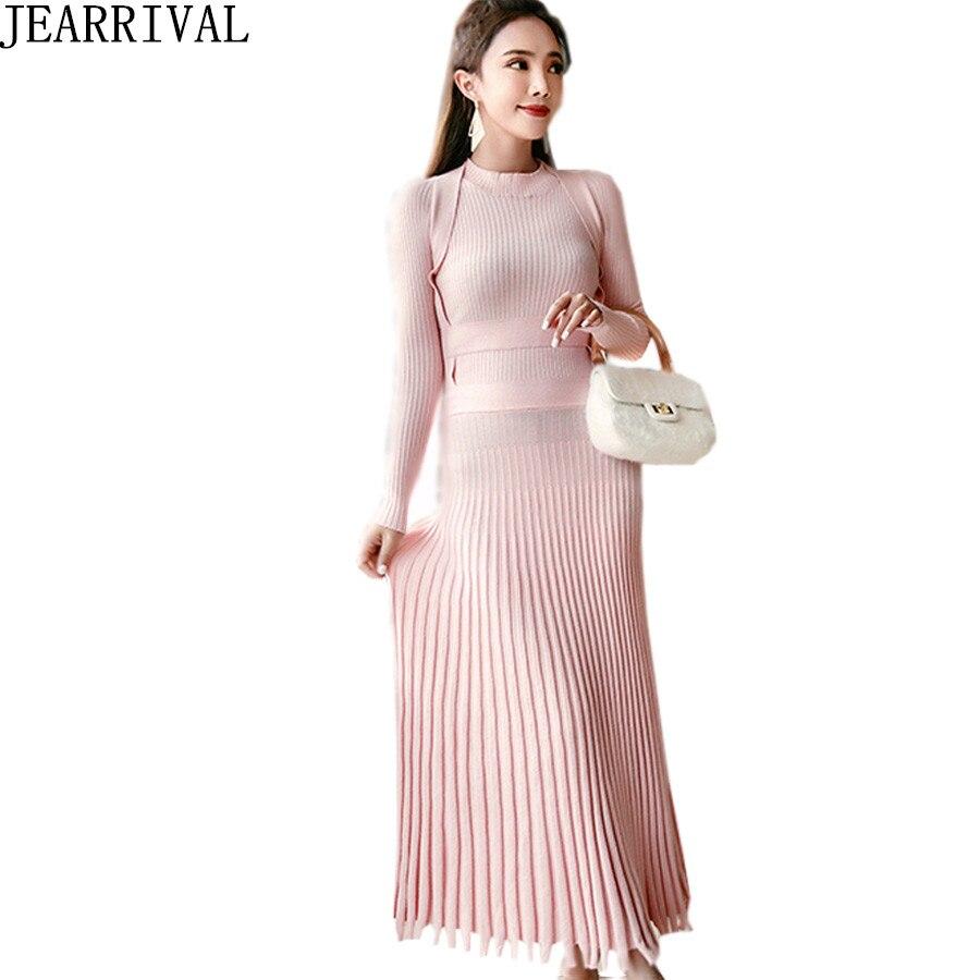 Frauen Kleid Langarm Color D Herbst 2018 Fashion Koreanische Neck Winter O Solid New 1TlcFJ3uK