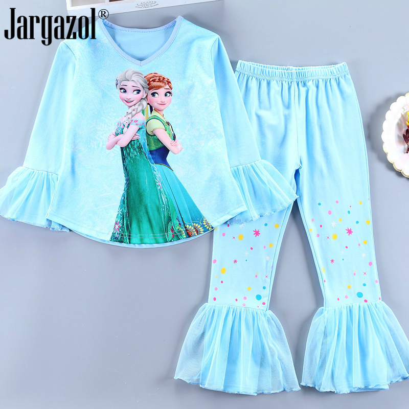 Girls Fashion Cartoon Pajama Cute High Quality Soft Shirt With Pants Casual Tracksuit For Kids Girl 4-10years Old Princess Sets