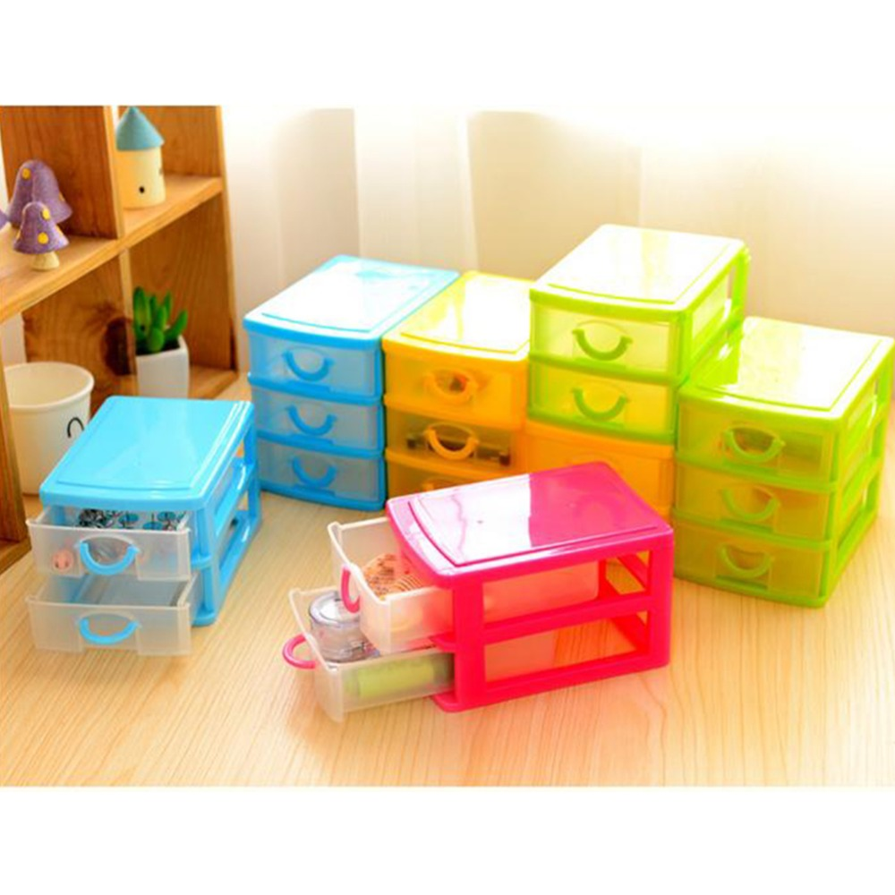 1pc 2 3 layers cosmetic jewelry organizer office storage for Mini makeup desk