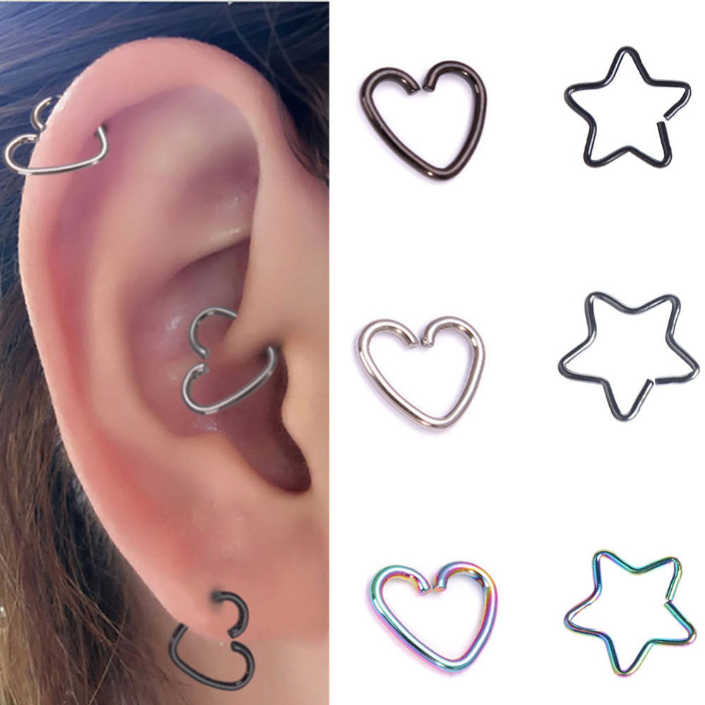 1 Piece Gold Silver Surgical Steel Heart Piercing Hoop Earring Helix  Cartilage Tragus Daith(china