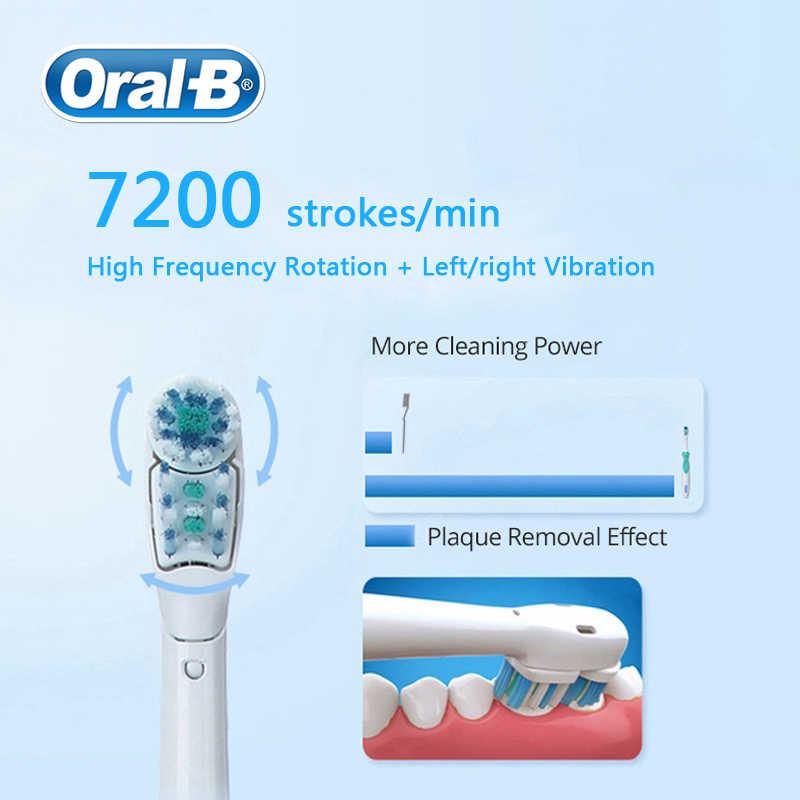 Oral B электрическая зубная щетка с перекрестным действием двойное вращение и вибрация AA батарея мощность 1 ручка щетки + 4 сменные головки щетки